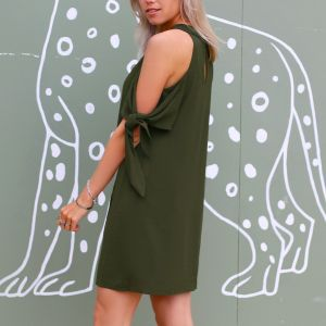 Open Shoulder Bow Dress - Army