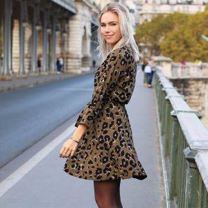Dark Green Leopard Dress