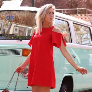 Open Shoulder Dress - Red