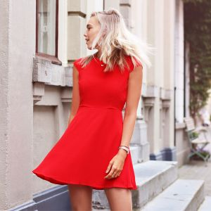 Open Back Skater Dress - Red