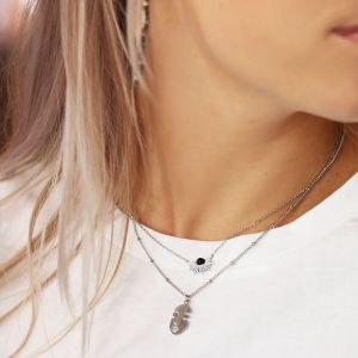 Black Sun Necklace-Zilver