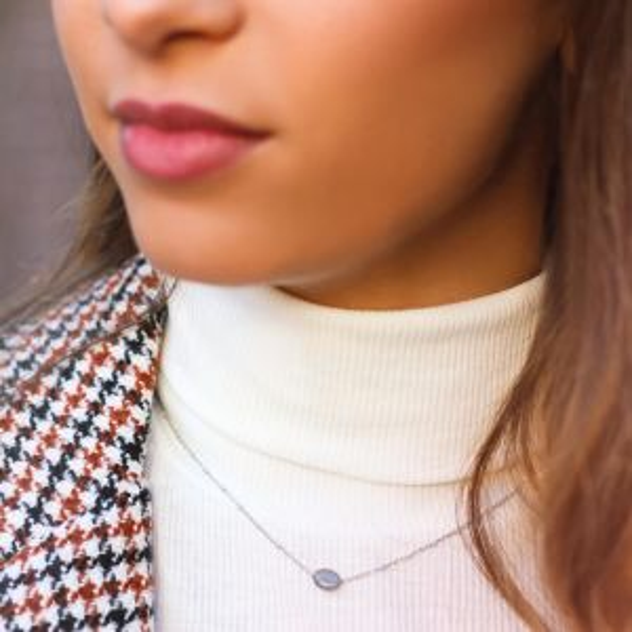 Grey Enamel Necklace Glass