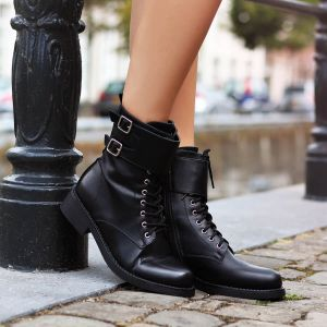 Biker boots Double Belt - Black