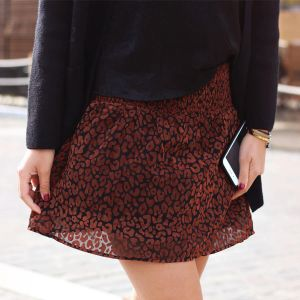 Mesh Leopard Skirt - Brown
