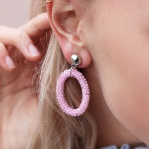 Classy Bead Earrings - Pink