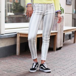Metallic Striped Jeans - Silver