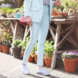 Feminine Suit Pants - Light Blue