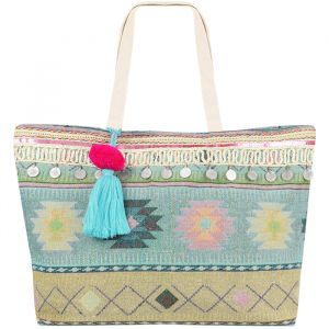 Multicolor Ibiza Beach Bag - Aqua