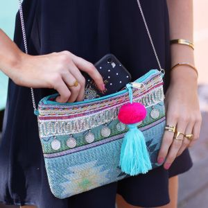 Multicolor Ibiza Clutch - Aqua