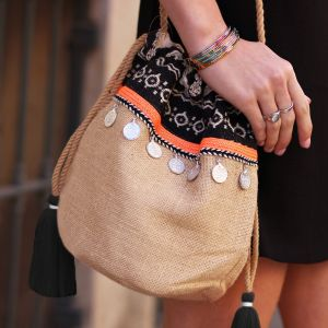 Multicolor Ibiza Bag - Beige/Black