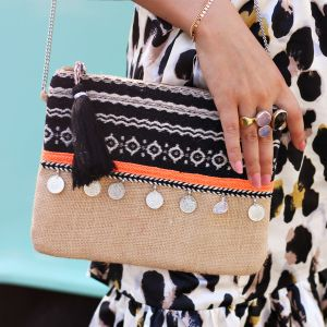 Multicolor Ibiza Clutch - Beige/Black