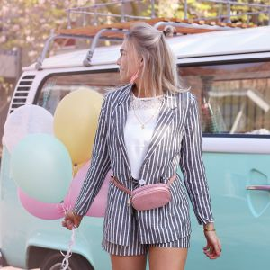 Striped Blazer - Dark Grey