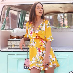 Flower Wrap Dress - Yellow