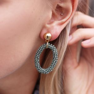 Classy Bead Earrings - Grey