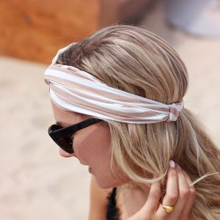 Striped Headband - Beige