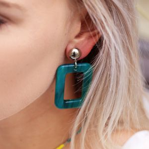 Square Earrings - Blue