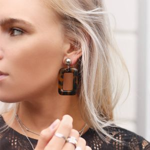 Square Earrings Duo - Brown