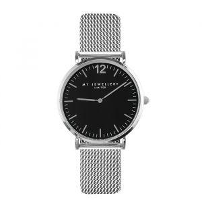 Medium Mesh Watch - Black/Silver