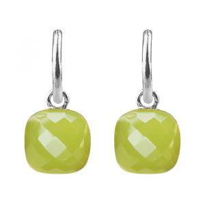 Square Stone Earrings - Olive Green