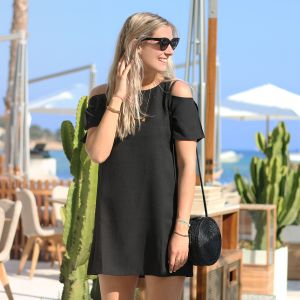 Open Shoulder Dress - Black