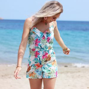 Tropical Flower Playsuit - White