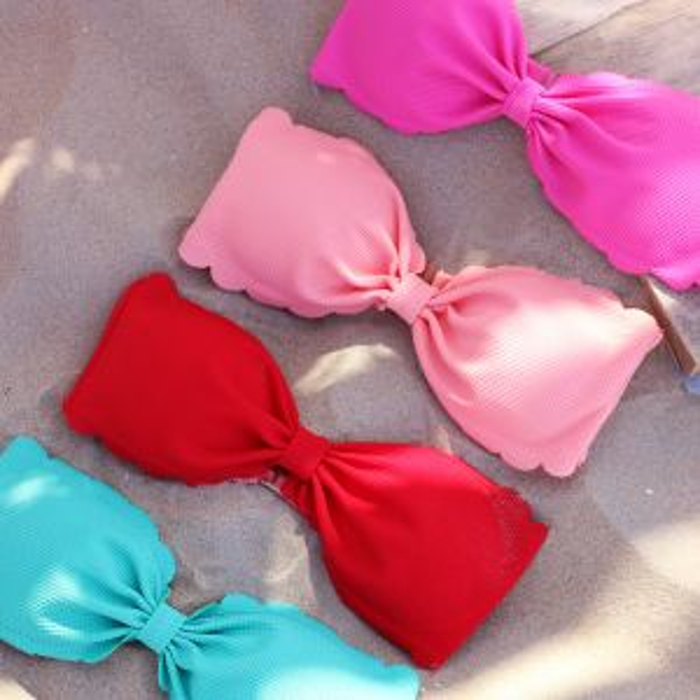 Bandeau Scalloped Bikini - Light Pink
