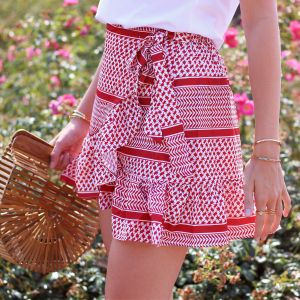 Printed Wrap Skirt - Red