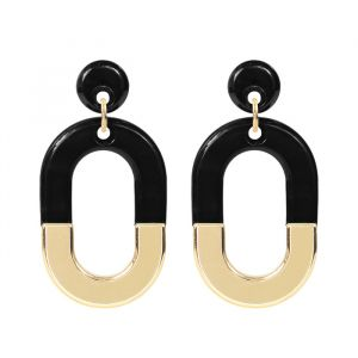 Bicolor Oval Earrings - Black/Gold