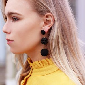 Double Drops Statement Earrings - Black