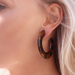 Round Earrings - Brown