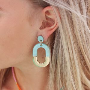 Bicolor Oval Earrings - Blue