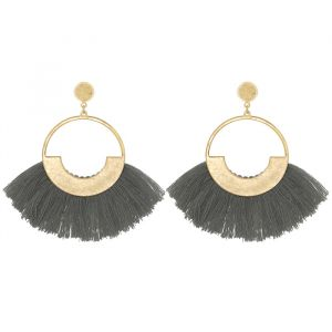 Grey Tassel Hoops Gold