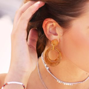 Oval Earring - Honey Beige