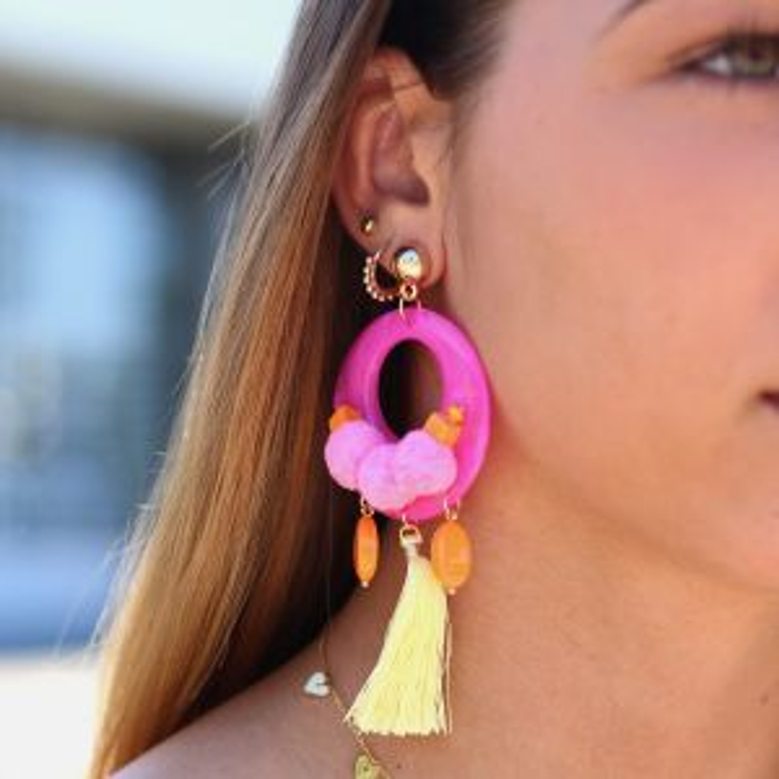 Pompom & Tassel Candy Earring