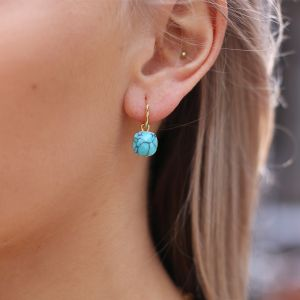 Square Stone Earrings - Marmer Turquoise