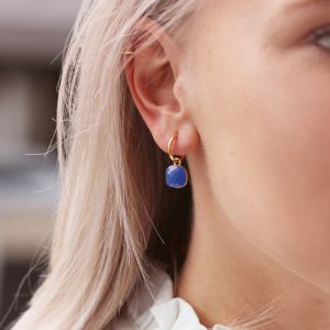 Square Stone Earrings - Blue