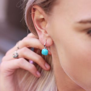 Square Stone Earrings - Turquoise