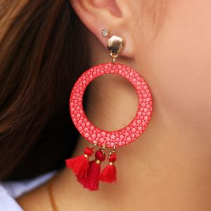 Round Earring - Red