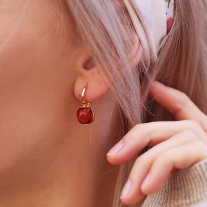 Square Stone Earrings - Red