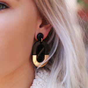 Bicolor Oval Earrings - Black/Gold