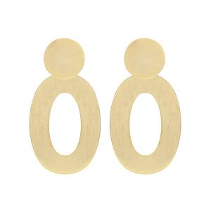 Disc & Open Oval Earrings