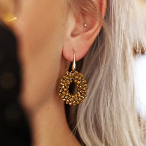 Mustard Crystal Beads Hoops
