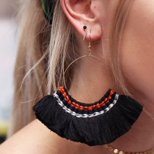 Multi tassel earrings - Black