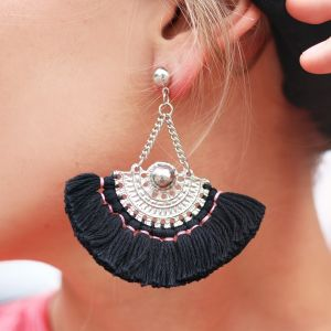 Boho Tassel Earrings Black - gold/silver