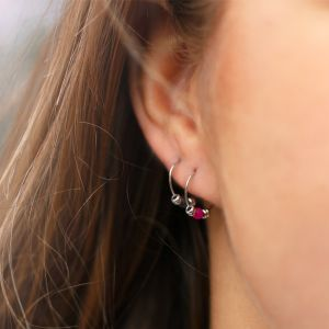 Small Bead Earrings Fuchsia
