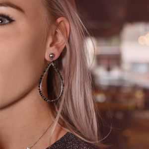 Black Crystal Teardrop Earring