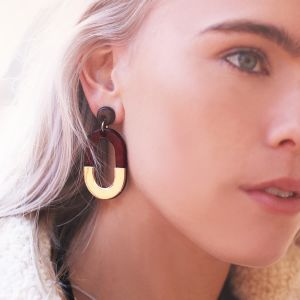 Bicolor Oval Earrings - Bordeaux/Gold