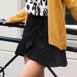 Cotton Wrap Skirt - Black