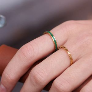 Groen & goud basic ring