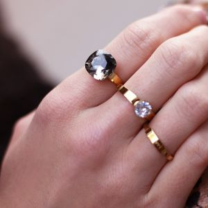 Big Stone Ring - Grey - Gold/Silver